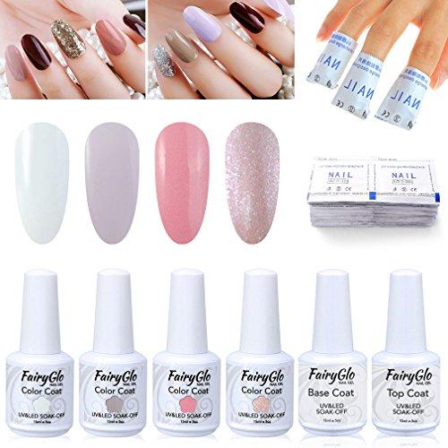 FairyGlo Nail Polish UV LED Soak Off Gel Nail Art Kit Top Base Coat Remover Wrap Manicure Decor Gift Set Beauty Collection 4PCS 15ml (Base Gift)
