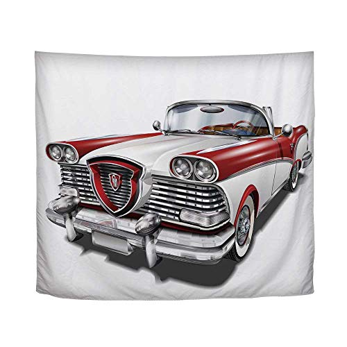 YOLIYANA Man Cave Decor,Retro Car in Red and White Exclusive Model Machine Drophead Coupe Decorative,51