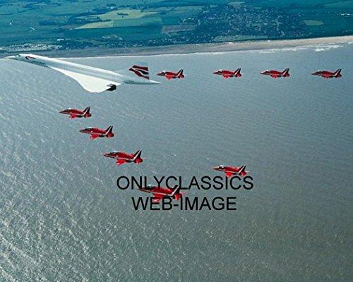 Jet Concorde (OnlyClassics British Airways SST CONCORDE'S Last Flight RED Arrows Jet Escort Airplane Photo)