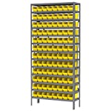 AKRO-MILS AS1279120Y 12-Inch D by 36-Inch W by 79-Inch H Powder Coated Steel Shelving Unit with 13 Shelves and 96 30120 Shelf Bins, Grey