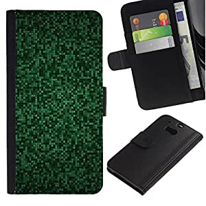 WINCASE ( No Para HTC ONE Mini 2) Cuadro Funda Voltear Cuero Ranura Tarjetas TPU Carcasas Protectora Cover Case Para HTC One M8 - patrón ordenador azulejos truco cibernético