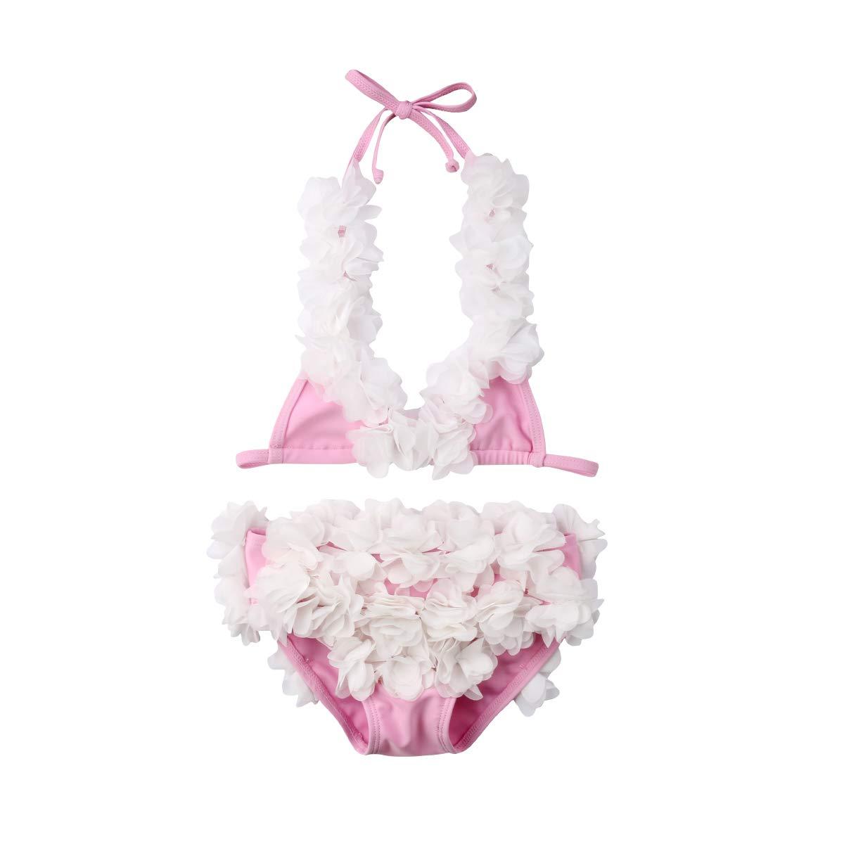 Douhoow SWIMWEAR ベビーガールズ 6-12 Months Pink&white B07MTLNMJY