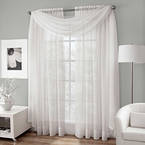 Window Swags Treatments (Amari Linen - Solid Sheer Window Scarf/Swag/Valance In Multiple Colors (37x216, White))