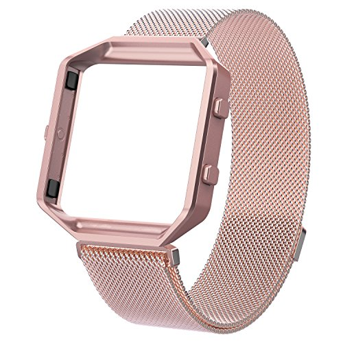 Wearlizer Compatible Fitbit Blaze Band Small Pink Rose Gold, Milanese Loop Watch Band Replacement Stainless Steel Bracelet Strap Metal Frame Fitbit Blaze