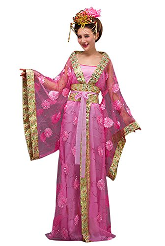 CRB Fashion Womens Ladies Stunning Asian Oriental Chinese Dynasty Ming Qin Han Xia Dress Costume with Head Accessories (Pink) -