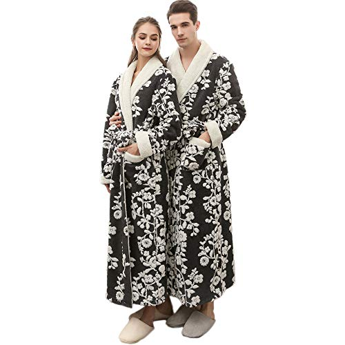 Clearance Sales Men Women Winter Lengthened Coralline Plush Shawl Bathrobe Flower Fleece Kimono Full Length Robe Coat Thicken Homewear Sleepwear (Black, M)