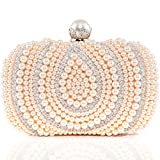 Womens Evening Clutch Bags Rhinestone Artificial Pearls Beaded Handbags Bridal Wedding Party Purse Champange