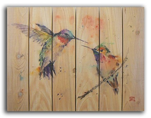 Gizaun Art Signature Series No.1 ''Love Bird'' Inside/Outside Full Color Cedar Wall Art, 33 by 24-Inch