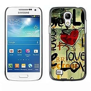 LECELL -- Funda protectora / Cubierta / Piel For Samsung Galaxy S4 Mini i9190 MINI VERSION! -- Love Grunge Heart --