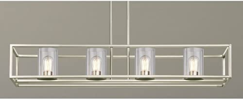 Industrial Hangning 4-Light Linear Chandelier with Clear Glass in Satin Nickel Finish