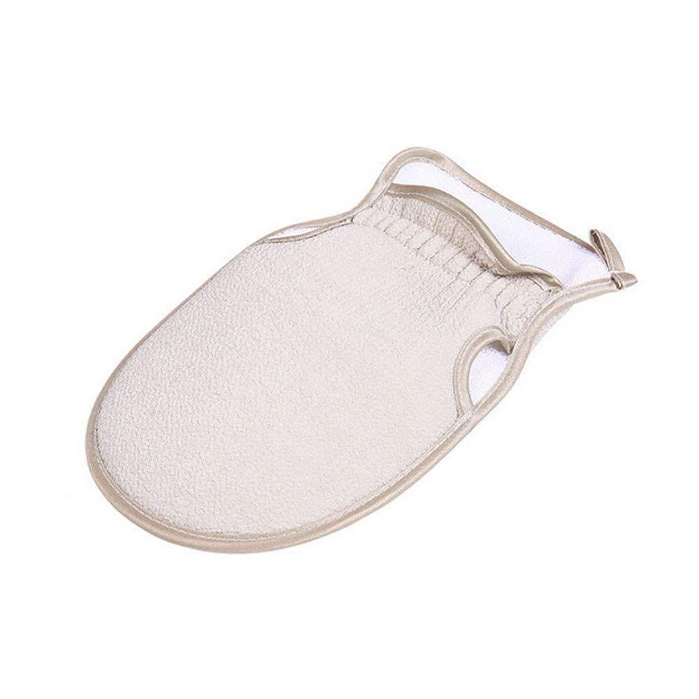 Overmal 1PC Shower Gloves Exfoliating Wash Skin Spa Bath Gloves Foam Bath Skid Resistance (Beige)