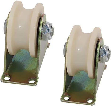 Geovne (2 Piezas) Polea en Forma de U,Ruedas de Acero Tubo Redondo Puerta Corredera Ruedas Direccional,1.2
