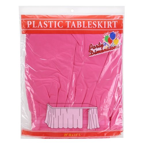 Hot Plastic Table Pink - Party Dimensions Single Count Plastic Table Skirt, 29 by 14-Feet, Hot Pink