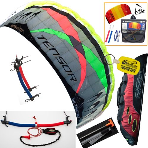 (Prism Tensor 4.2 Power Foil Kite (Red) 3-Line Control Bar Trainer Bundle: Includes FREE 2ND Kite : HQ Symphony Beach II 1.3M Foil Kite + WBK Kiteboarding Key Fob Accessory Snow Traction)