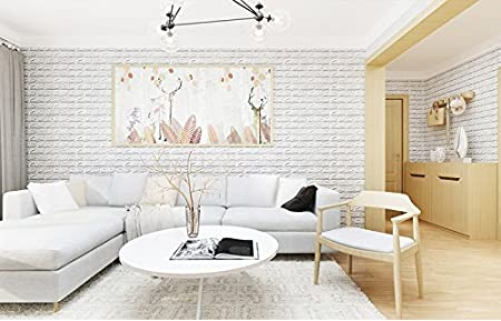 10PCS 3D Brick Wall Stickers, PE Foam Self-Adhesive Wallpaper Peel and Stick 3D Art Wall Panels for Living Room Bedroom Background Wall Decoration,White (30.3 x 27.1 (77cm x 69cm)) Miyaya