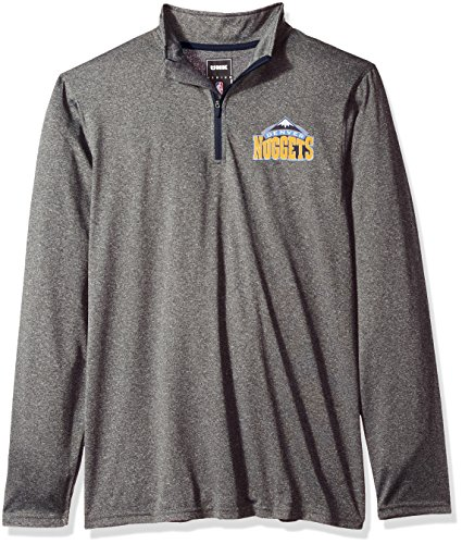 fan products of NBA Men's Denver Nuggets Quarter Zip Pullover Shirt Long Sleeve Tee, XX-Large, Gray