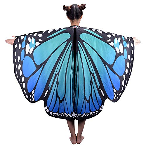Butterfly Wings for Women, Butterfly Shawl Fairy Ladies Cape Nymph Pixie Costume Accessory (Children Bluish -