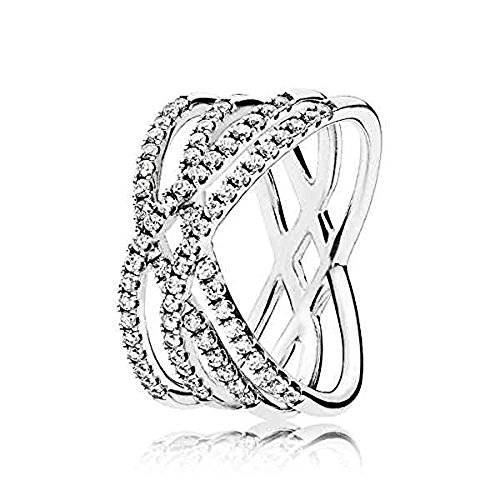 PANDORA Cosmic Lines Ring, Sterling Silver And Clear Cz, Size 7 US, 196401CZ-54 - Pandora Stackable Rings