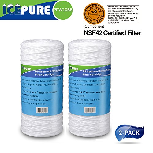 """Icepure Big Blue Sediment String Wound Water Filter 10"""" Replacement filter for 3WH-STDSW-F02 for Whole House System Water (Big Blue String)"""