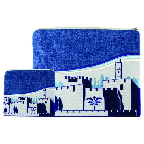 - Tallit and Tefillin Jerusalem Wall Design Bag Set 36 * 29cm- Blue