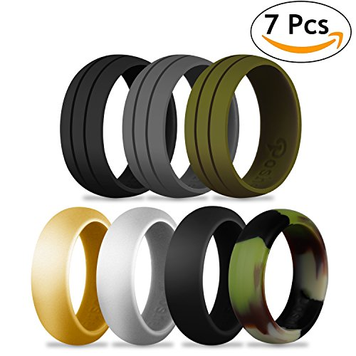7 Pack Silicone Ring, Poshei Silicone Wedding Ring Band All Sizes for Men and Women, Fit & Skin Safe, Non-toxic, Antibacterial Silicone Rubber Bands for Training, Exercise, - Classic Combinations Color