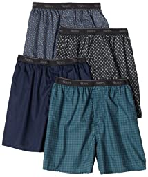 Hanes Men\'s 4-Pack TAGLESS Assorted Prints Boxer, Assorted, Contemporary Prints, X-Large