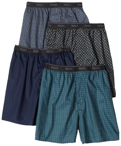 Hanes Men's Classics Woven Printed Boxers, Assorted, Large (Pack of 4) Printed Cotton Boxer