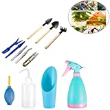 KOBWA Garden Tool Kit, Garden Hand Tools With Ergonomic Handle, Plant Care Transplanting Mini Garden Tools Set, Digging And Transplant Watered Tools for Succulents, Easily Rinsed And Dried (12 Piece)