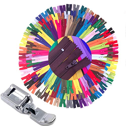 75pcs 20 Inch 14 Inch and 9 Inch Mixed Size Nylon Coil Zipper Bulk with Zipper Presser Foot for Sewing Craft(25 Color Zippers)