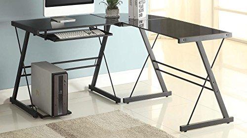 Naomi Home 3 Piece Sedalia Glass Office Desk, Black For Sale