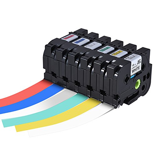 Walmeck Laminated Label Tape Black on Blue Compatible for Brother P-touch Label Printer PT-1010/PT-2100/PT-18R/PT-E200/PT-9500 18mm (18 Mm Labelling Tape)