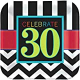 "Must-Have Chevron and Stripes 30th Birthday Party Square Luncheon Plates Tableware, Pack of 8, Multi , 7"" Paper"