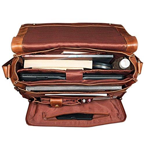 STILORD 'Jan' Vintage Maletín para el ordenador portátil 15.6 pulgadas Bolso Bandolera cuero auténtico de búfalo, Color:cognac - brillante cognac - brillante