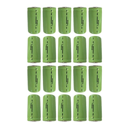Rechargeable c size Batteries 1.2v Count (5000mAh 20Pcs Flat top) by PK Cell
