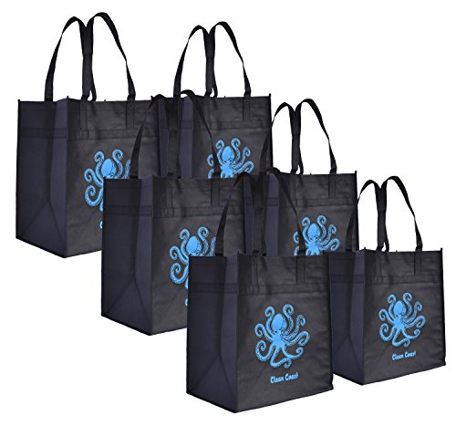 Reusable Grocery Shopping Tote Bags (6 Pack, Black With Blue Octopus)