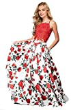 Lily Wedding Womens Floral 2 Piece Satin Prom Dresses 2019 Long Halter Lace Evening Ball Gown with Pockets Size 14 Red