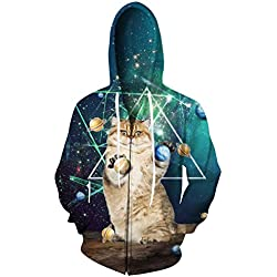 RAISEVERN Unisex 3d Planets Standing Cat Print Black Zip Front Hoodie Sweatshirt for Women Men XX-Large