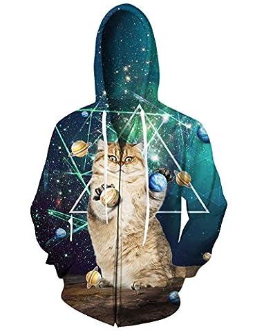 RAISEVERN Unisex 3d Planets Standing Cat Print Black Zip Front Hoodie Sweatshirt for Women Men - Cat Womens Zip Hoodie