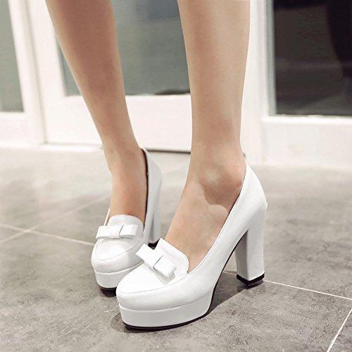 MissSaSa Damen Plateau Chunky high-heel Pumps mit Schleife süß und elegant Pointed-toe Kleidschuhe Weiß