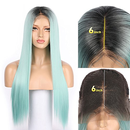 - Fennell 13x6 Deep Parting Synthetic Hair Lace Front Wigs For Ladies Hight Qualiyt Heat Resistant Fiber Hair 4 Combs And Adjustable Straps Inside For Perfect Fit (Mint green)