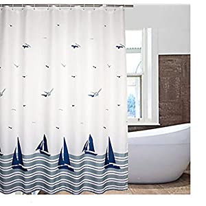 Eforcurtain Littoral Pattern Waterproof and Mildew-Free Shower Curtain with Hooks Multi-colored (White/navy) (72-Inch by 72-Inch)