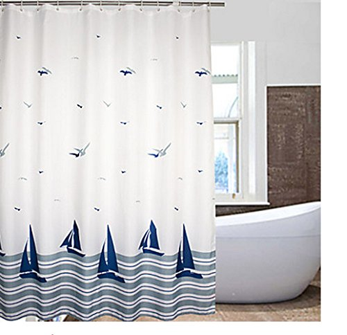 Eforcurtain-Beach-Pattern-Waterproof-Mildew-Free-Fabric-Shower-Curtain-with-Hooks-Multi-colored
