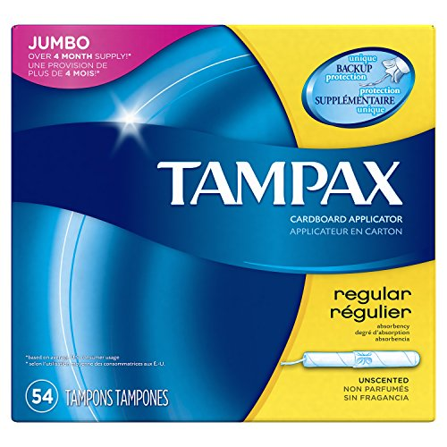 Tampax Cardboard Applicator Tampons, Regular Absorbency, 54 Count (Pack of 2) by Tampax