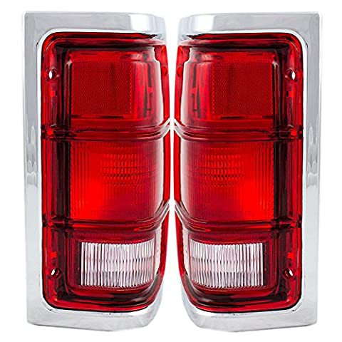 Driver and Passenger Taillights Tail Lamps with Red Trim & Chrome Housing Replacement for Dodge Pickup Truck SUV 55054795 - Dodge Ramcharger Truck