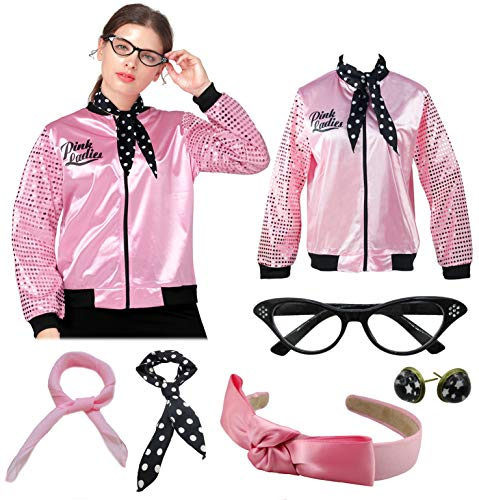 1950s Pink Ladies Satin Jacket Sequin Sleeve with Scarf Halloween Costume Outfit (XXL, Pink) -