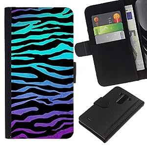 KLONGSHOP // Tirón de la caja Cartera de cuero con ranuras para tarjetas - Rayas de la cebra del trullo púrpura Líneas - LG G3 //