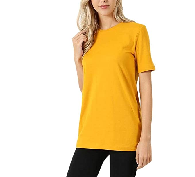 dad97d011f84 BENIAN Cotton Crew Neck Short Sleeve T-Shirt Loose FIT Relaxed Boxy ...