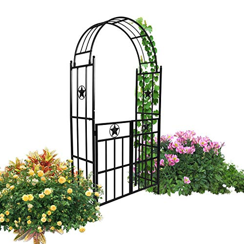 Kinbor Garden Arch with Gate Metal Outdoor Arbor for Various Climbing Plant Lawn Backyard Patio Wedding Greenhouse Bridal Party Decoration