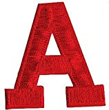 """[Single Count] Custom and Unique (2"""" Inch) Bold Regular Letterman Jacket Varsity Plain Solid Block Font Alphabet Letter A Monogram Design Iron On Embroidered Applique Patch {Red Color}"""