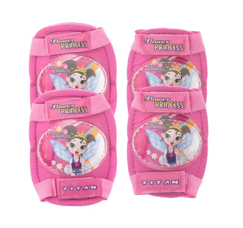 Titan Flower Princess Multi-Sport Protective Pink Pad Set, Elbow Knee and Wrist Guards by Titan (Image #1)